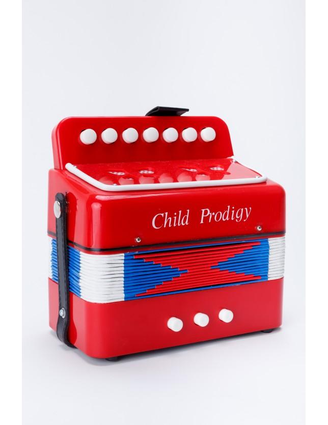 Cx-a020 Acordeón Para Niños 3 Bajos 7 Botones Color Rojo